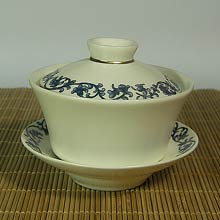 Blue and Gold Pattern Gaiwan